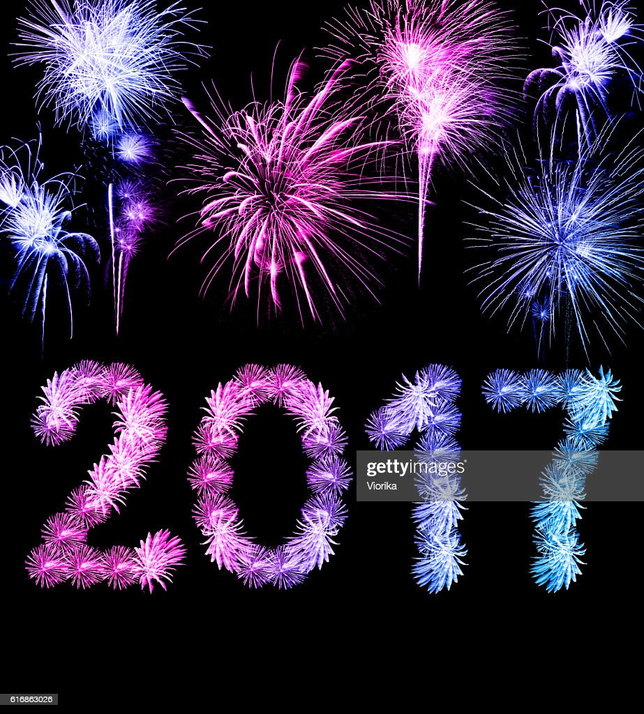 New Year 2017 (fireworks compilation) : Stock Photo