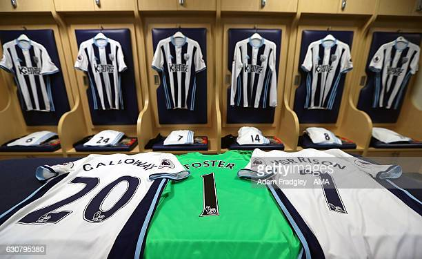 New Year 2017 spelled out with the shirts of Brendan Galloway Ben Foster and James Morrison of West Bromwich Albion before the Premier League match...