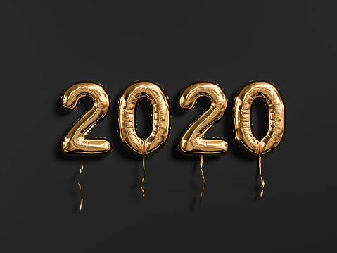 New year 2020 celebration. Gold foil balloons numeral 2019 and on black wall background 1168216970