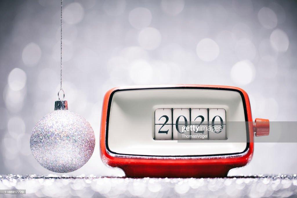 Rearview Mirror New Year 2020 -2019 Christmas New Year 2020 Christmas Retro Alarm Clock Celebration Defocused