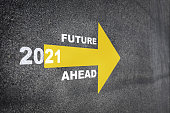 New year 2021 and future ahead word with yellow arrow on road surface