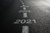 New year 2021 road start