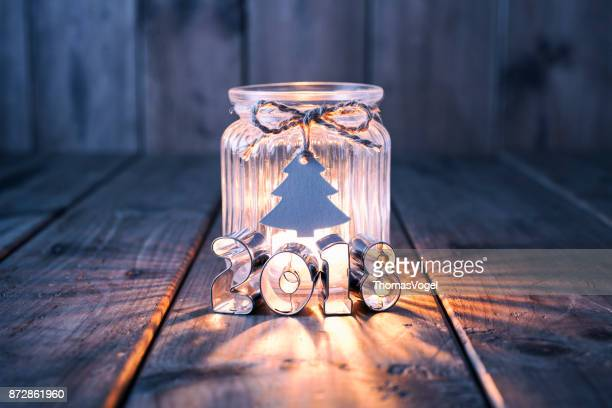 New Year and Christmas decoration on old wood - Candle Jar Label Card
