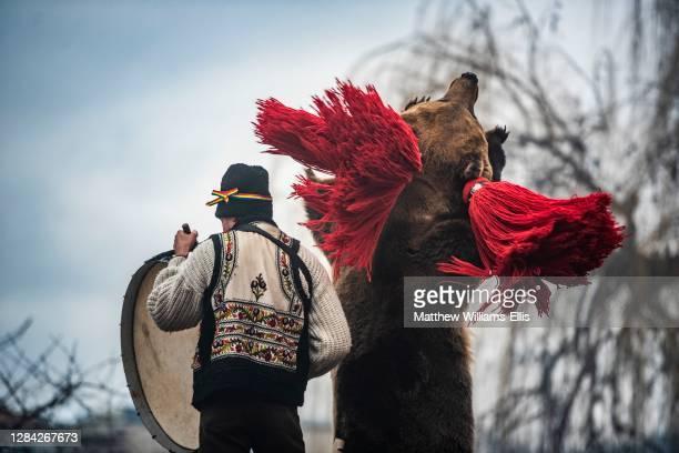 New Year Bear Dancing Festival, Comanesti, Moldova, Romania.