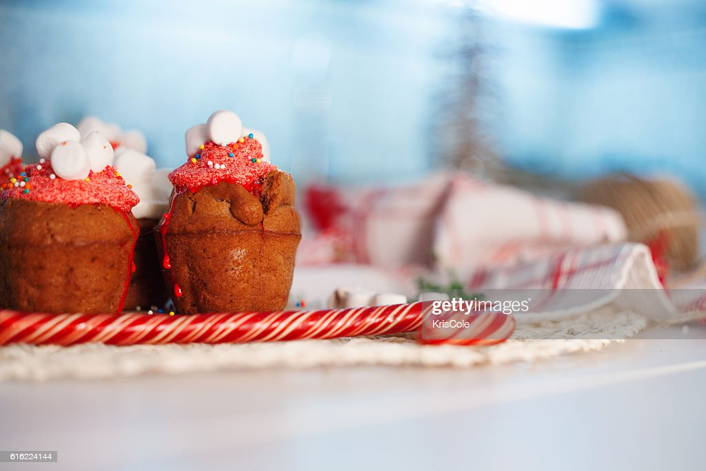 New Year celebration cupcakes, chocolate muffins on table : Stock Photo