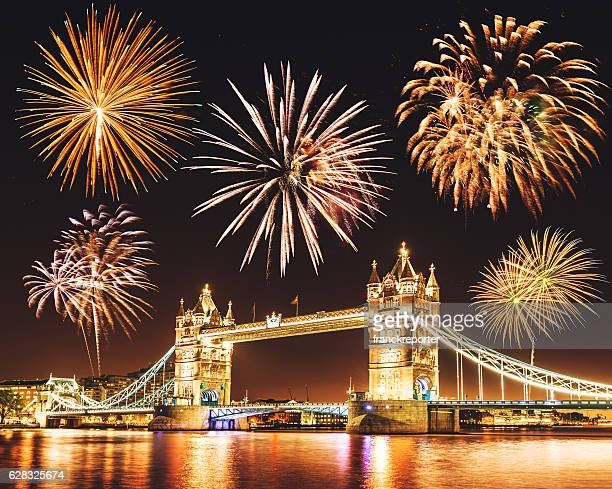 new year celebration over the tower bridge for 2016
