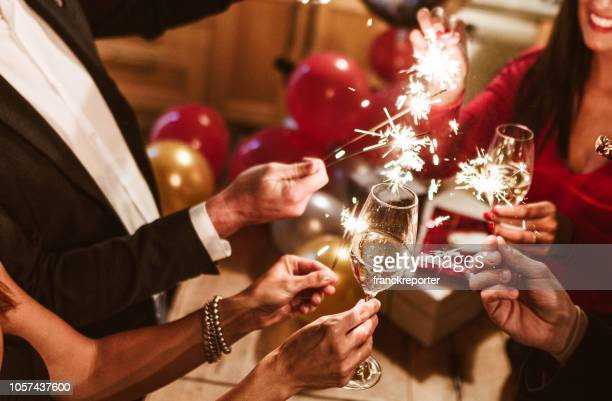 new year celebration with champagne - new year's eve stock pictures, royalty-free photos & images
