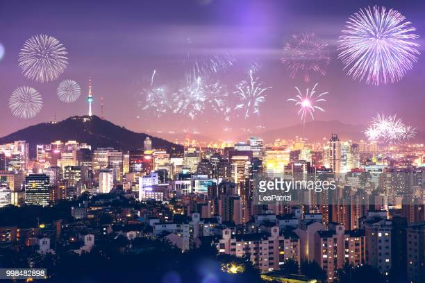 New Year Celebrations and Seoul cityscape seen from above - South Korea