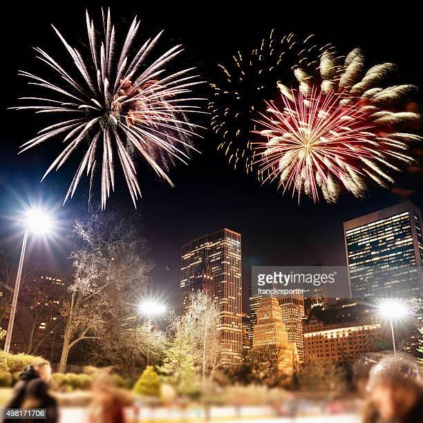 Año nuevo en central park en la ciudad de Nueva York con fuegos artificiales