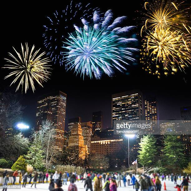 new year central park in New York city with fireworks