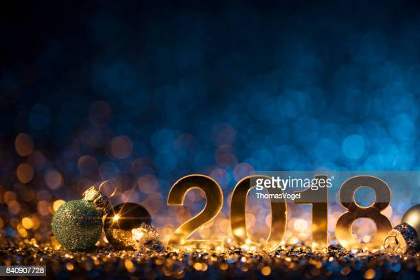 New Year Christmas Decoration 2018 - Gold Blue Party Celebration