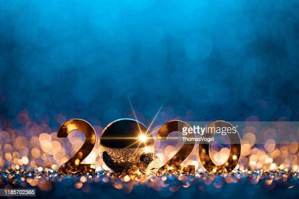 new year christmas decoration 2020 - gold blue party celebration - 2020 stock pictures, royalty-free photos & images