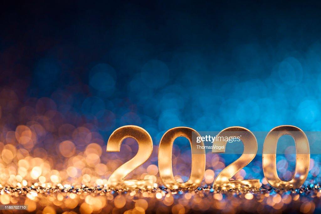 New Year Christmas Decoration 2020 - Gold Blue Party Celebration : Stock Photo