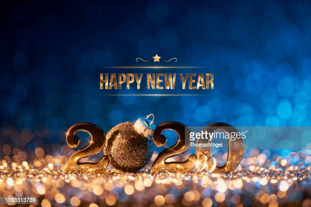new year christmas decoration 2020 - gold blue party celebration - new year 2020 stock photos and pictures