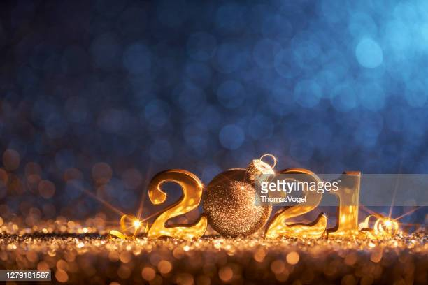 new year christmas decoration 2021 - gold blue party celebration - 2021 stock pictures, royalty-free photos & images