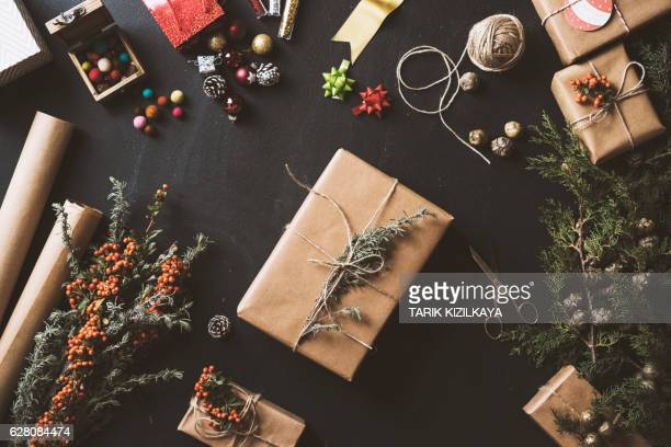 New Year Christmas gifts, table top flat lay