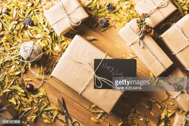 New Year Christmas presents, gift boxes, table top flat lay