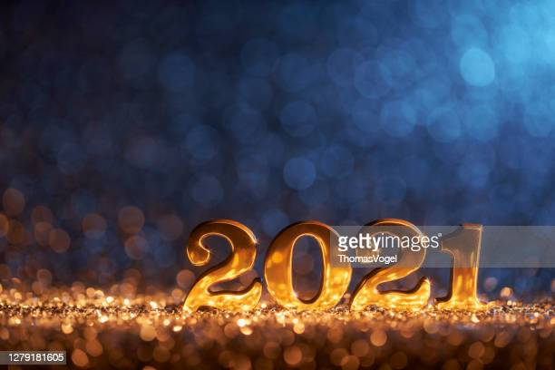 new year decoration 2021 - gold blue party celebration christmas - 2021 stock pictures, royalty-free photos & images
