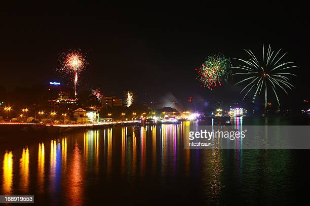 new year fireworks, goa 2012 - panjim stock photos and pictures
