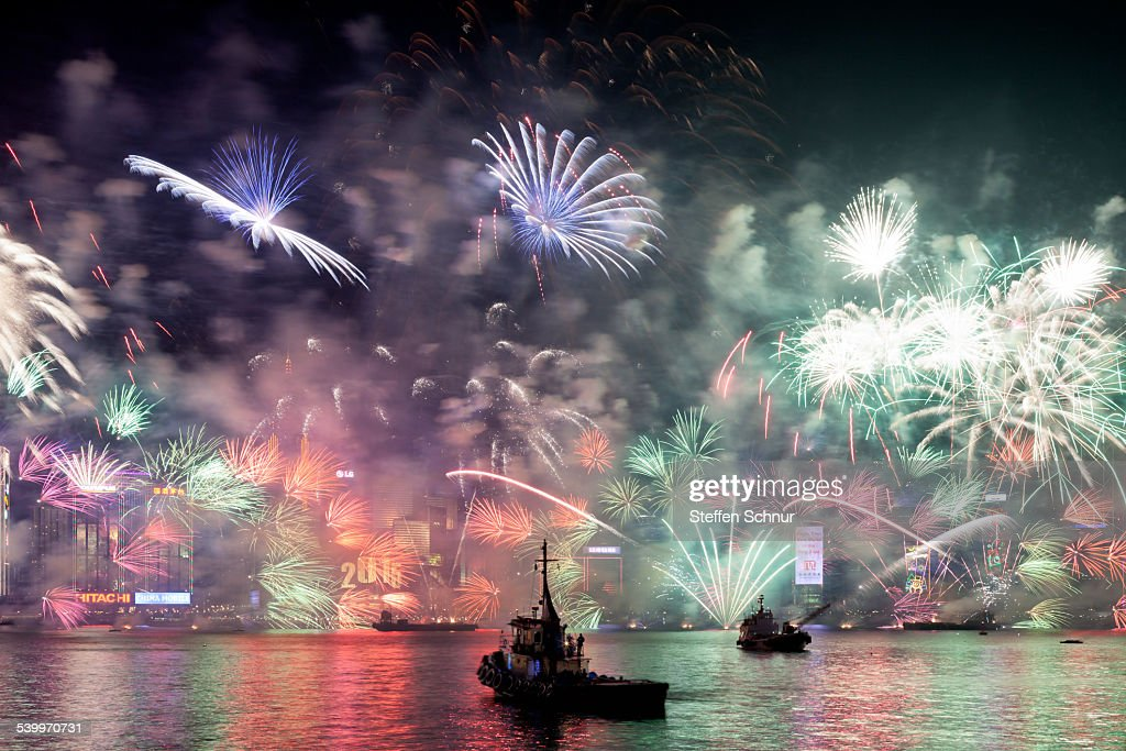 new year fireworks Hong Kong asia skyline : Stock Photo