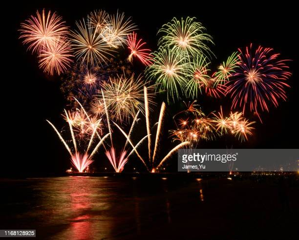 2019 new year fireworks - fireworks stock pictures, royalty-free photos & images