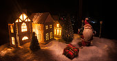 little decorative cute small houses snow