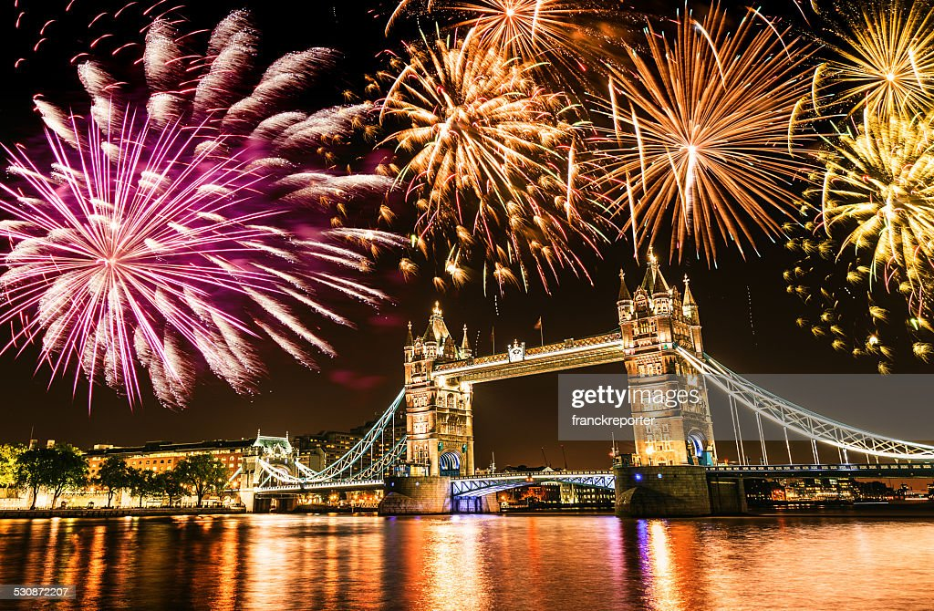 new year over the tower bridge : Stock Photo