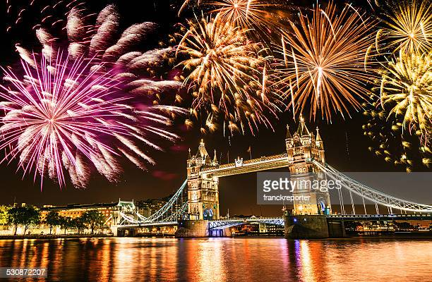 new year over the tower bridge - london england stock pictures, royalty-free photos & images