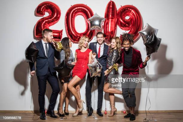 new year party - 2019 stock pictures, royalty-free photos & images