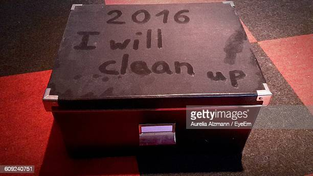 New Year Resolution On Dusty Box On Floor
