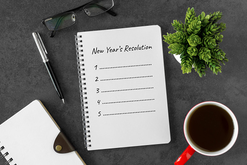 New Year Resolution on Notebook Page - gettyimageskorea