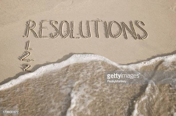 New Year Resolutions Wiped Away Message on Smooth Sand Beach