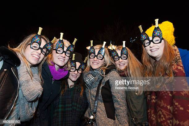 New Year revellers gather on Princes Street ahead of the New Year celebrations on December 31 2014 in Edinburgh Scotland