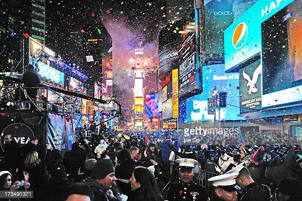 New Years celebration at Times Square, hundreds of thousands of people gathered and wait for hours in the cold of a New York winter for the famous...