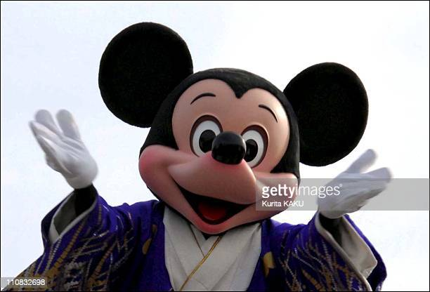 New Year'S Celebrations At Disneyland In Urayasu Japan On January 01 2007 Disney characters Mickey dressed in kimonos perform at top a float during...