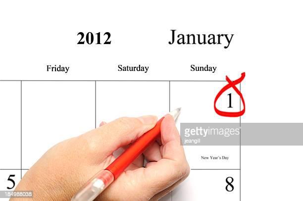 Dia de Ano Novo 2012 entrada de calendário
