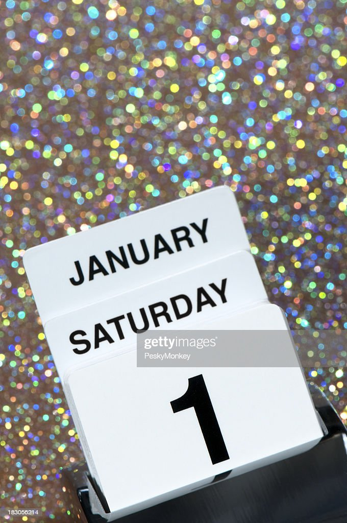 new years day january 1 calendar reminder on sparkly background stock photo