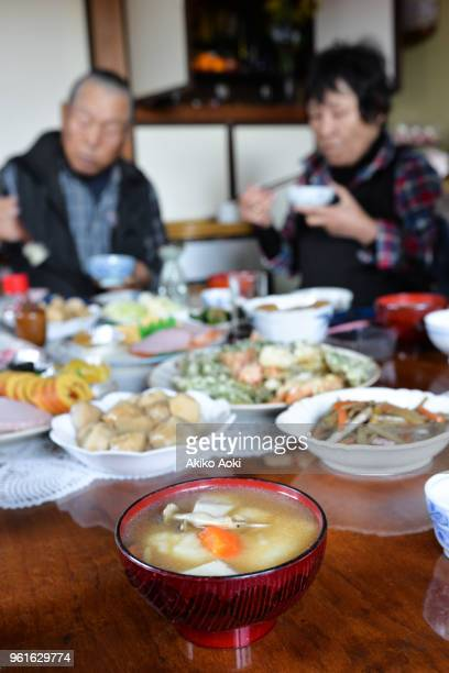 New Year's dishes and Japanese old couple