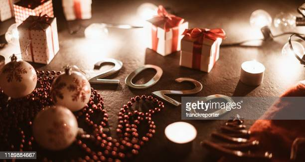 new year's eve 2020 composition - christmas banner stock photos and pictures