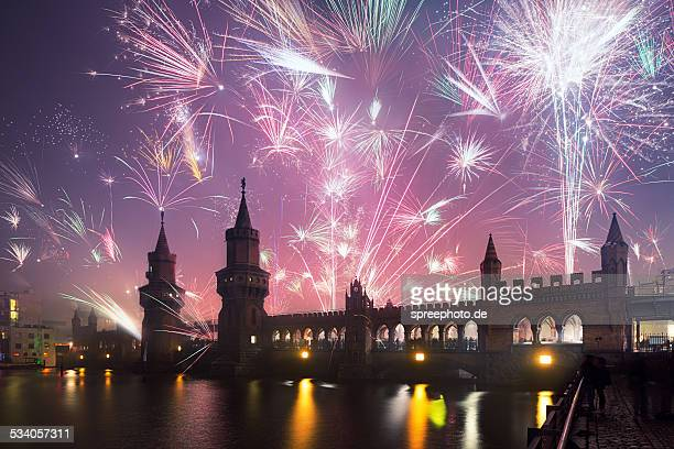 New Years Eve at Oberbaum bridge, Berlin, Germany