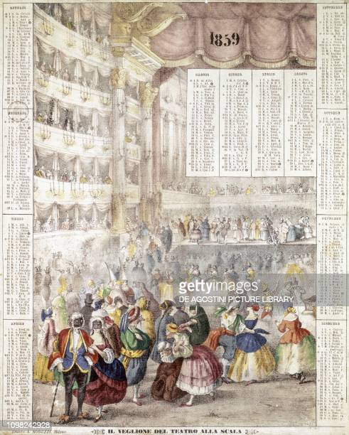 New Year's Eve ball at Teatro alla Scala Milanese almanac of 1859 Italy 19th century
