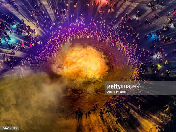 New Year's Eve Celebration. Bond fires and fireworks on New Year's is an annual event, Reykjavik, Iceland. This image is shot with a drone.