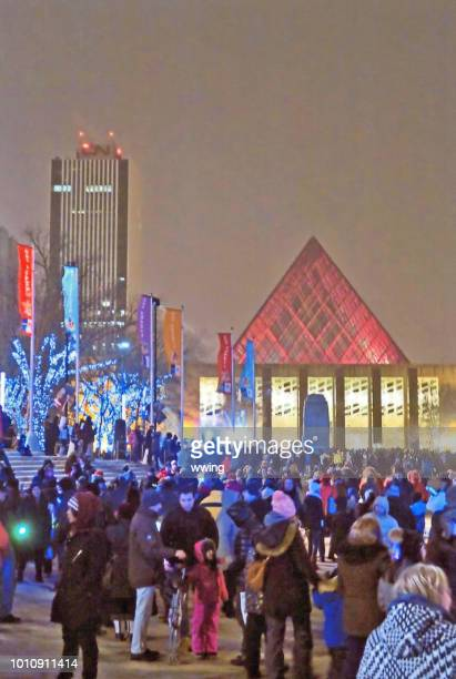 new years eve celebration in edmonton churchill square - edmonton stock pictures, royalty-free photos & images