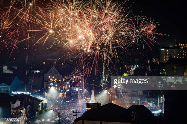 new year's eve celebration in yogyakarta, indonesia - indonesia stock pictures, royalty-free photos & images