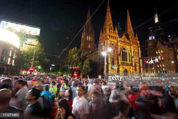 New Years Eve celebrations on the streets of Melbourne