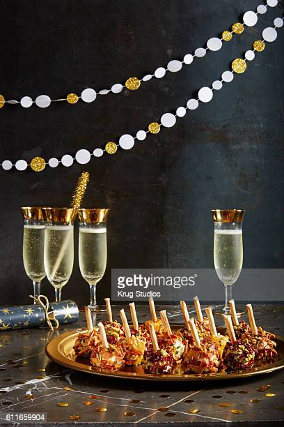 New Year's Eve Cheese Balls with Champagne