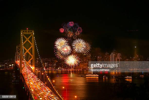 new year's eve firework at san francisco - bay bridge stock pictures, royalty-free photos & images