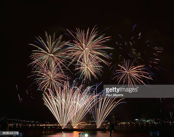 New Year's Eve fireworks display on the Delaware River with Camden NJ as the backdrop viewed from Penn's Landing on December 31 2015 in Philadelphia...