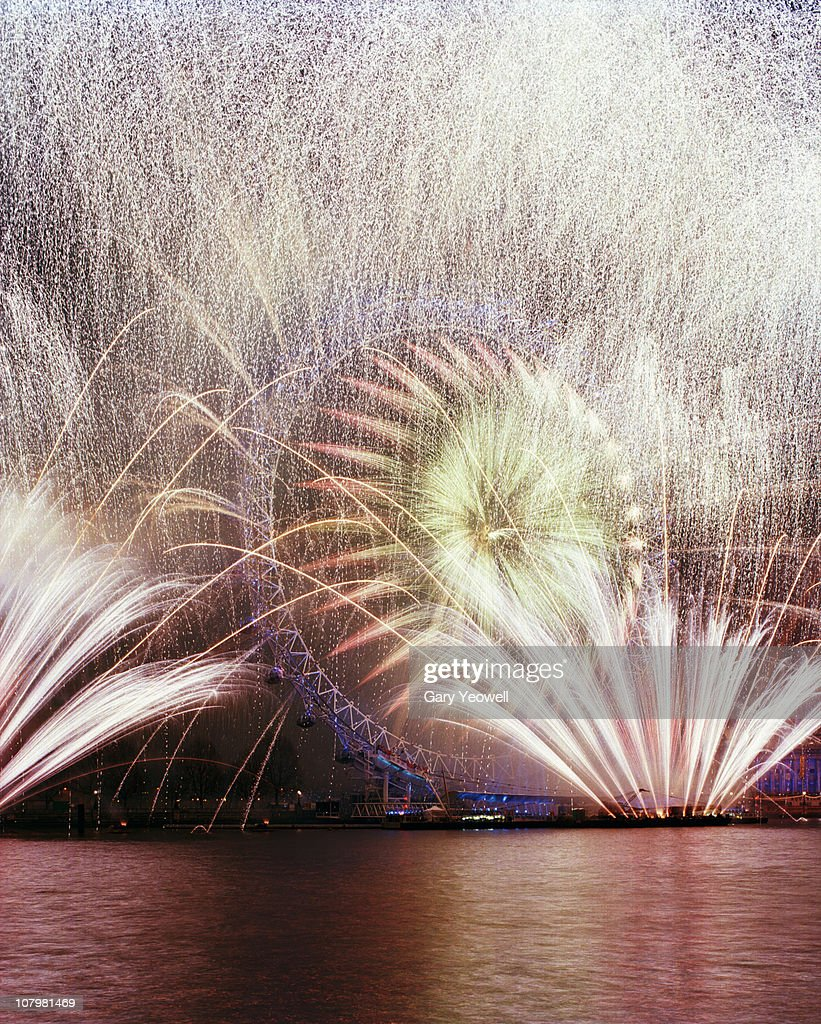 New Years Eve fireworks display over London : Stock Photo