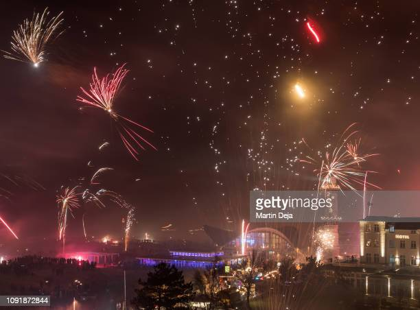 new year's eve fireworks - rostock stock pictures, royalty-free photos & images
